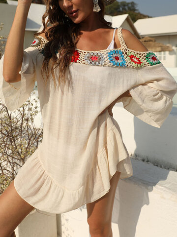 Embroidery Crochet Ruffle Hollow Out Dress