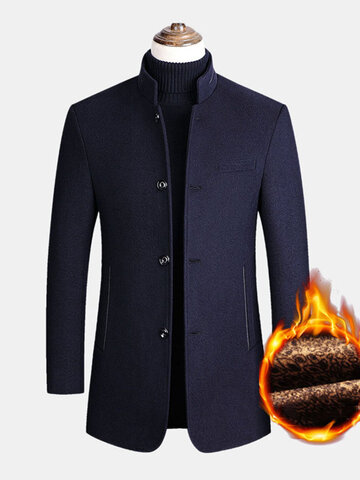 Single-Breasted Woolen Overcoats