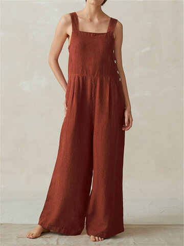 Sleeveless Strappy Wide Legged Jumpsuits
