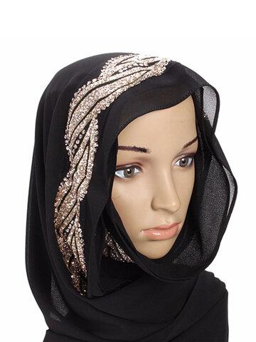النساء المسلمات الترتر الدانتيل شالات الحجاب الإسلامي وشاح طويل أغطية الرأس