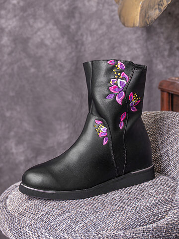 Floral Embroidered Warm Lining Mid-Calf Boots