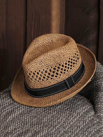 Unisex Summer Straw Knited Sunscreen Jazz Cap