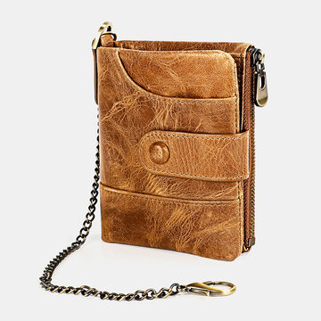 Genuine Leather Chain RFID Double Zipper Retro Multi-pocket Solid Wallet