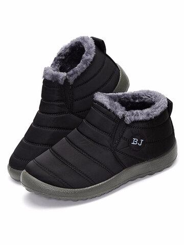 Letter Waterproof Warm Fur Boots