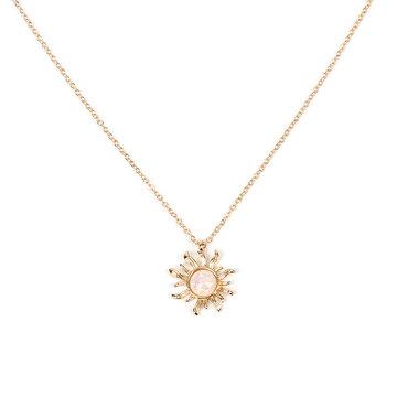 Collier à pendentif en opale en forme de soleil