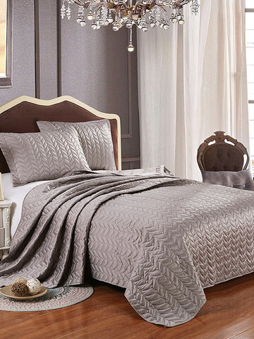 1pc Bed Cover+2pcs Pillowcases Satin Bedspread European Style Bedding Set Jacquard Weave Quilt Quilting Blanket Bed