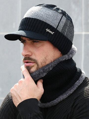 Men Skullies Beanie Hat Winter Cap Wool Scarf Caps Set