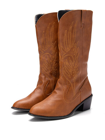 Leaf Embroidery Mid-Calf White Cowboy Boots