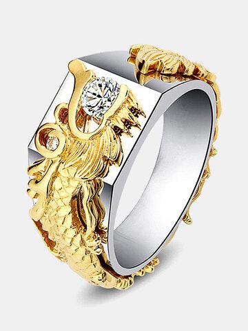 Anello da uomo in oro di lusso Drago
