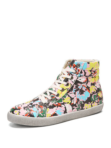 SOCOFY Dark Color Prosperous Flowers Printed Casual Sneakers Skate Shoes