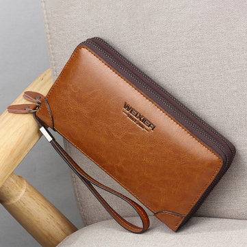 Genuine Leather Business Retro Double Zipper Clutch Bag