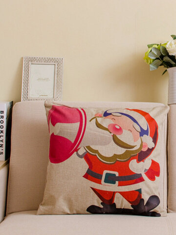 Christmas Series Printed Throw Pillow Case Square Cotton Linen Sofa Office Cushion Cover