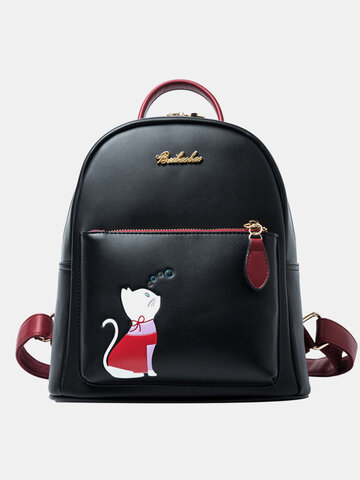 Cute Cat Pattern Printing Large Capacity Backpack