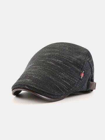 Men Knitted Leather Brim Flat Cap
