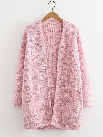 Solid Color Knit Cardigan, Khaki pink gray apricot blue navy