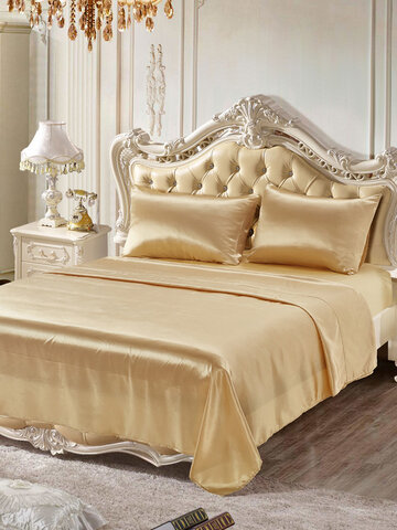 4pcs/set Bedspread Bed Set Soft Silk Like Fitted Sheets Sets Satin Twin/Queen /King Full Sizes Solid Color Bedding