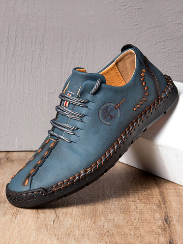 Menico Men Hand Stitching Non Slip Soft Sole Casual Leather Shoes