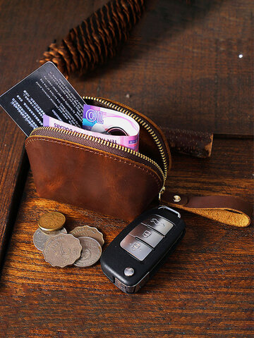 Genuien Leather Retro Mini Cute Hand-carry Storage Bag Coin Bag Wallet