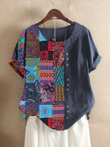 Patchwork-T-Shirt im Folk-Stil