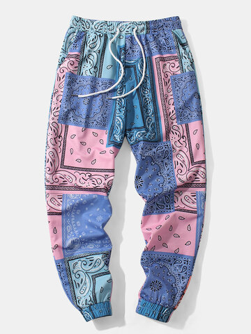 Mixed Bandana Print Jogger Pants