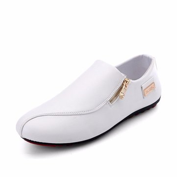 Men Side Zipper British Style Flat Slip On Casual Shoes