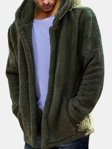 Mens Casual Fleece Warm Long Sleeve Coat