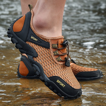 Men Mesh Non Slip Water Friendly Hiking Sneakers