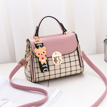 Women Plaid PU Leather Cute Bear Crossbody Bag