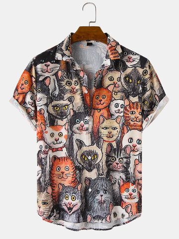 Halloween Allover Funny Cat Print Shirts