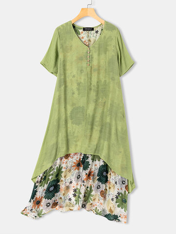 Floral Print Fake Two Pieces Dress