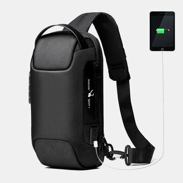 Oxford Contraseña Carga USB Antirrobo Multicapas Impermeable Bandolera Bolsa Pecho Bolsa Sling Bolsa