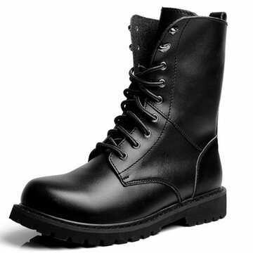 Men High Top Classic Black Casual Lace Up Mid Calf Work Boots