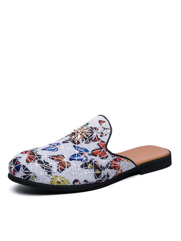 Men Stylish Floral Print Backless Slippers