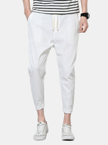 Pantaloni slim fit in cotone lino con coulisse