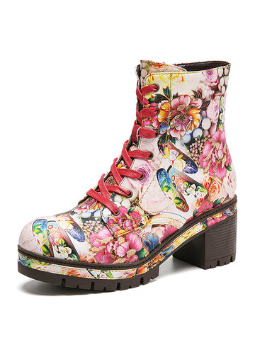 Bloom Flowers Printed Comfy Leather Short Boots