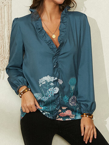 Flower Print Ruffled V-neck Blouse