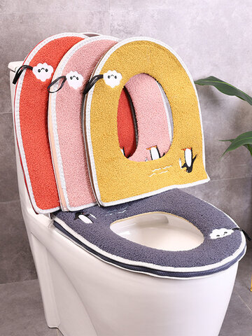 Zipper Toilet Seat Closestool Cover Household Plush Soft Toilet Seat Pad Cover Toilet Seat Cover