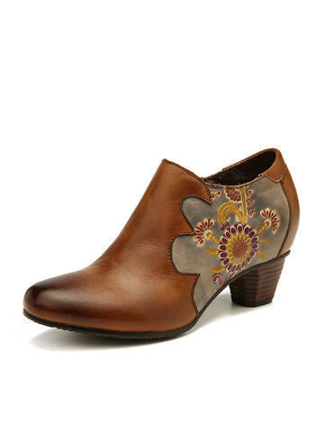 SOCOFY Retro Hand Painted Flowers Pattern Stitching Genuine Leather Zipper Pumps