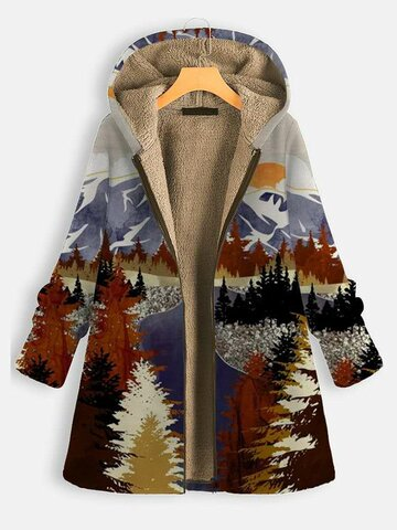 Landscape Print Hooded Thick Coat