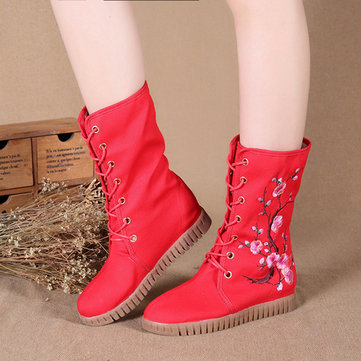 Plum Blossom Embroidered Height Increasing Warm Fur Lining Mid Calf Boots, Black dark blue black/red/green black/green/red red