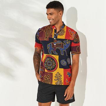 Estilo étnico multi-colorido impresso Henley Camisa