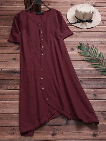 Vintage Solid Color Blouse Dresses