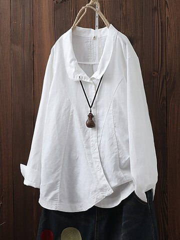 Vintage Irregular Button Lapel Shirt