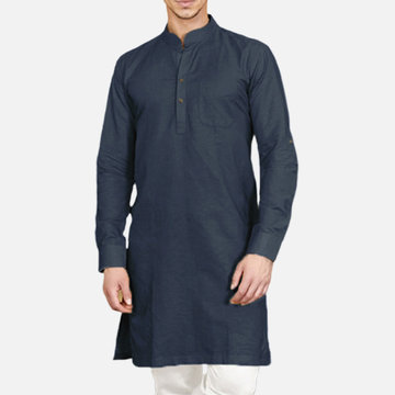 Traditionelle Herren Kurta Bollywood Top Tunika Ethnisch Kleid Robe