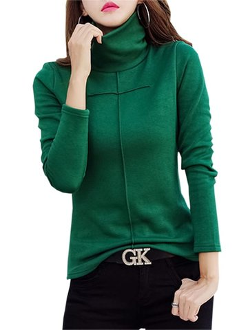 Women's T Shirt Solid Color Turtle Neck Long Sleeve