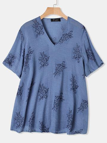 Flowers Print V-neck T-shirt