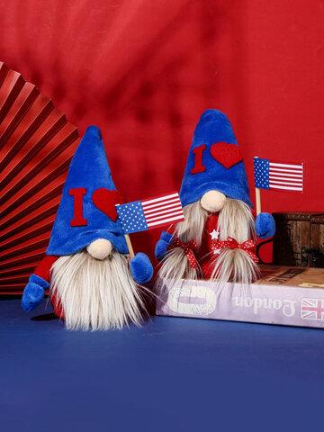 1 قطعة يوم الاستقلال الأمريكي مجهولة الهوية رفع العلم يجلس قزم جنوم الأطفال دمية هدية مهرجان