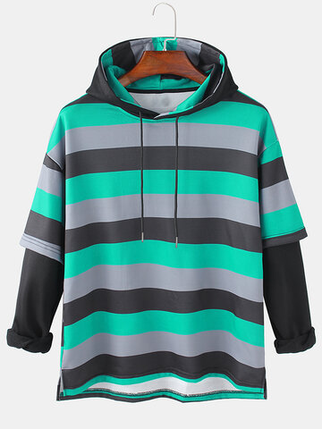 Cotton Stripes Doctor Sleeves Hoodies