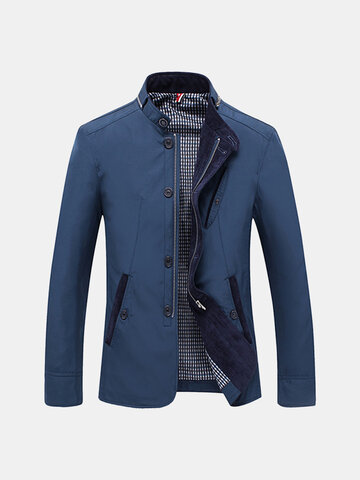 Mens Personality Zip Collar Collar Jacket