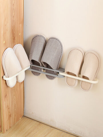 رف أحذية قابل للطي 3 في 1 مثبت على الحائط رف تخزين منشفة تلسكوبية رف شبشب رف الحمام